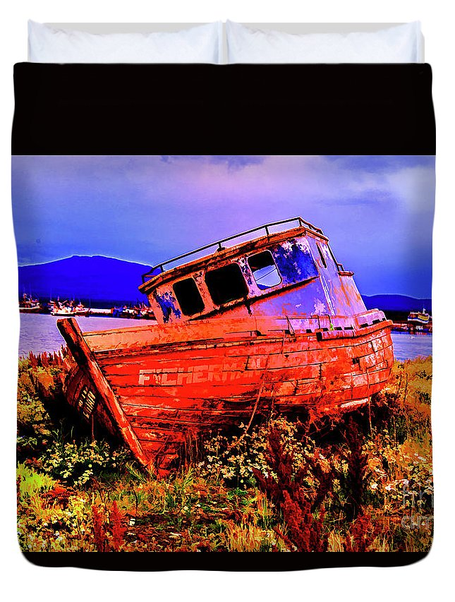 Notales Chile Old Boats Artist Rendetions Duvet Cover featuring the photograph Last Red Boat by Rick Bragan