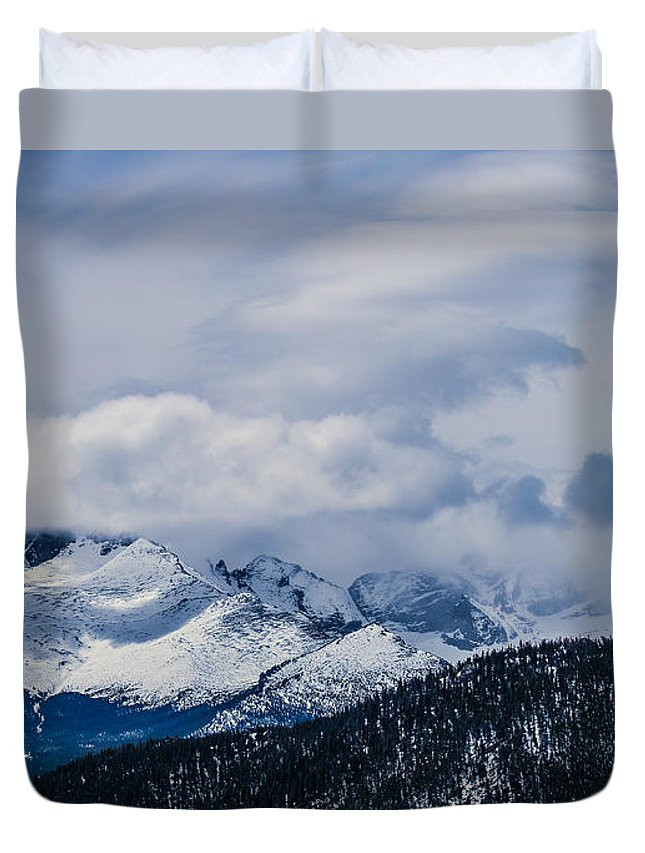 Estes Park Duvet Cover featuring the photograph Last Snow by Lisa Scammell