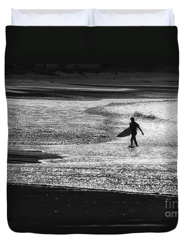 Surfer Duvet Cover featuring the photograph Last wave by Sheila Smart Fine Art Photography