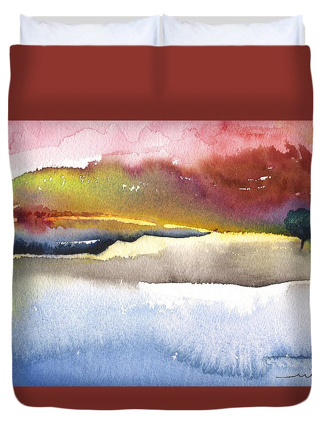 Watercolour Duvet Cover featuring the painting Late Afternoon 01 by Miki De Goodaboom