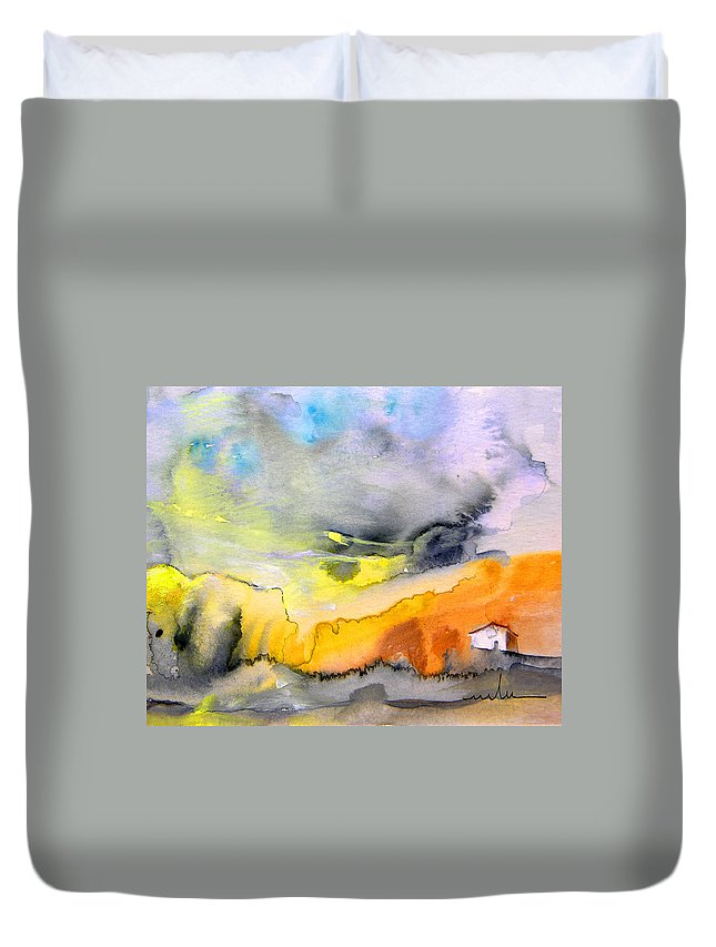 Watercolour Duvet Cover featuring the painting Late Afternoon 14 by Miki De Goodaboom