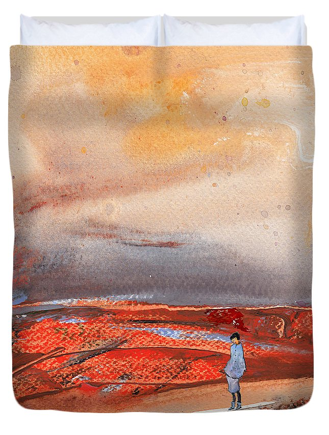 Landscapes Duvet Cover featuring the painting Late Afternoon 34 by Miki De Goodaboom