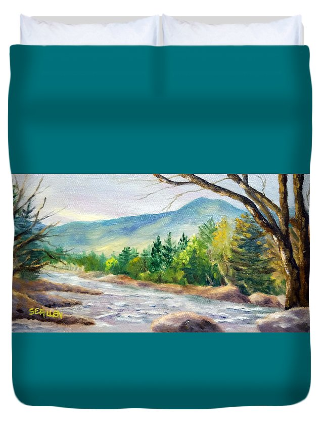 Saco River Duvet Cover featuring the painting Late Afternoon on the Saco by Sharon E Allen