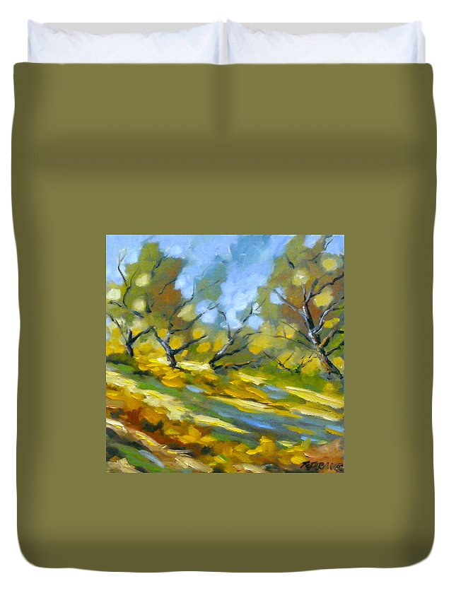 Original Painting; Oil; Landscape; Birches; Trees; Nature; Richard T Pranke; Lake Duvet Cover featuring the painting Late Afternoon by Richard T Pranke