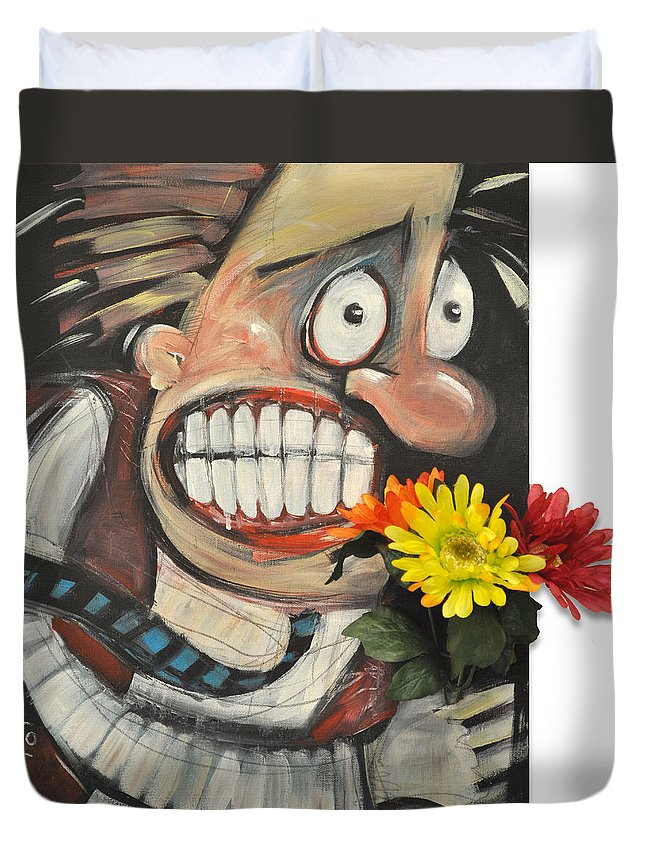 Flowers Duvet Cover featuring the painting Late For A Date by Tim Nyberg
