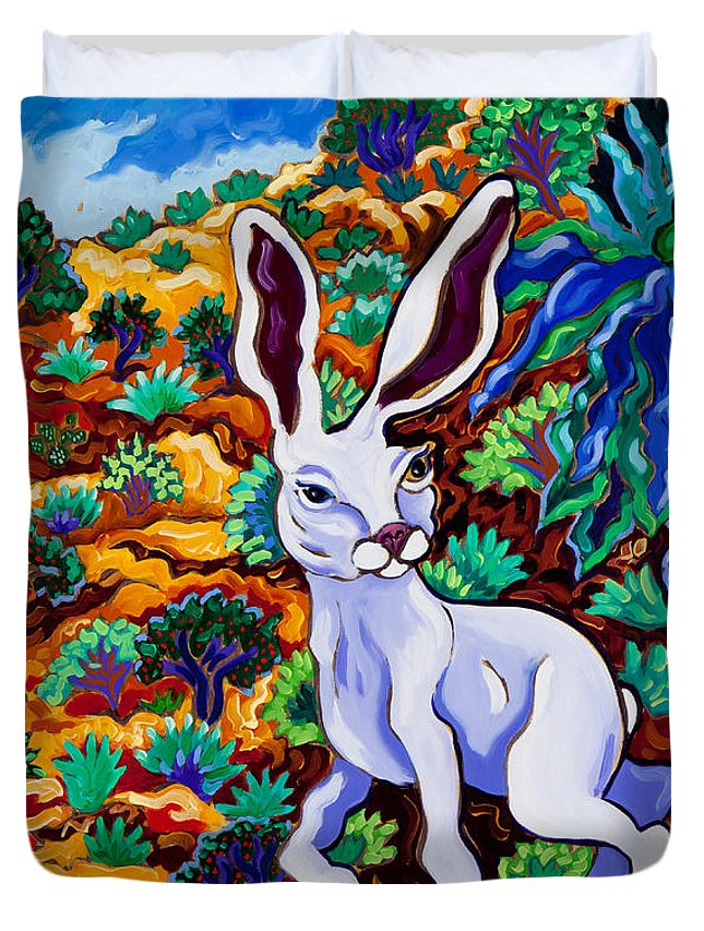 Rabbit Duvet Cover featuring the painting Late For A Very Important Date by Cathy Carey