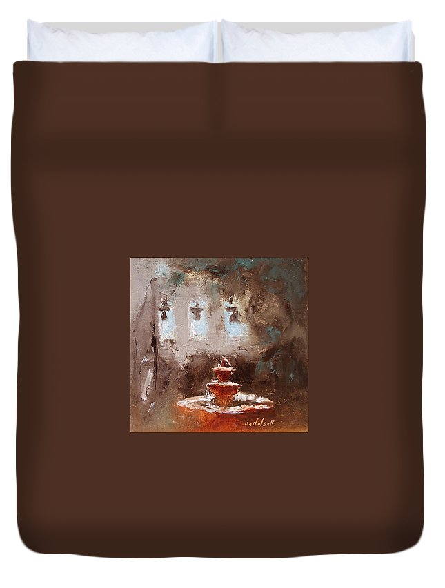 Water Duvet Cover featuring the painting Late Light by Barbara Andolsek