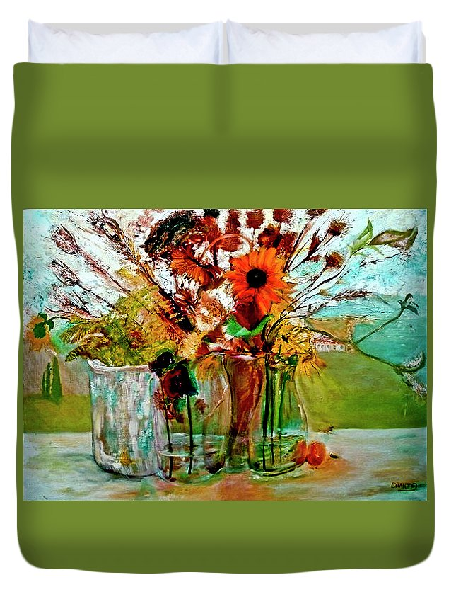 Flowers Jar Glass Thistle Picnic Green Lemon Rose Duvet Cover featuring the painting Late Summer by Jack Diamond