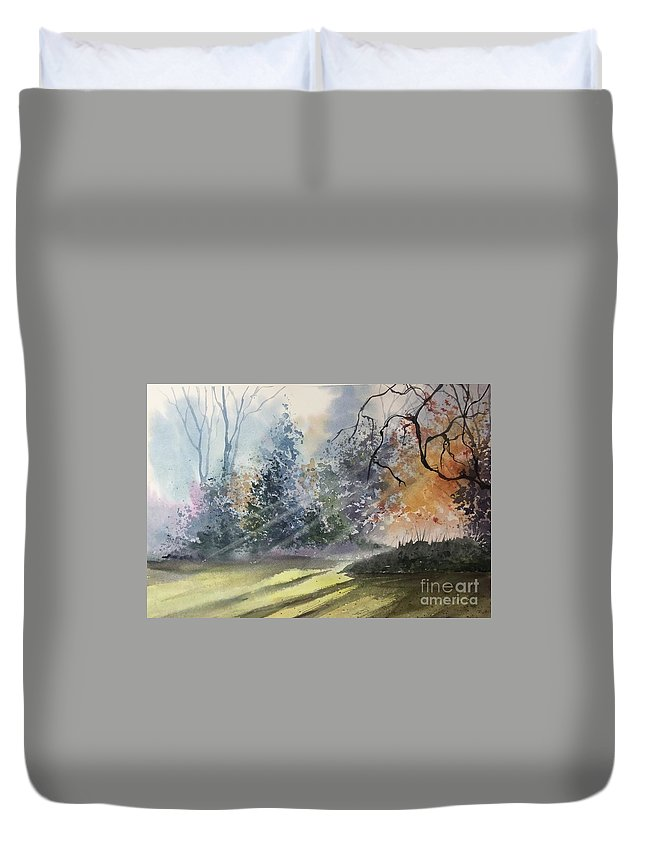 Late Summer Meadow Bathed In Sunlight Duvet Cover featuring the painting Late Summer by Yohana Knobloch