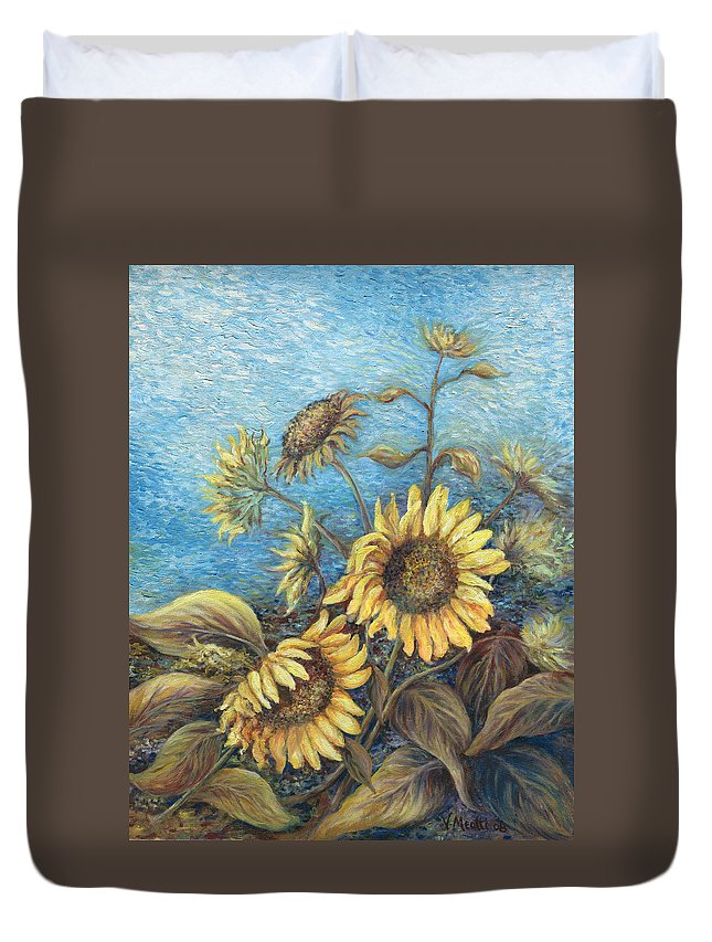 Sunflowers Duvet Cover featuring the painting Late Sunflowers by Valerie Meotti