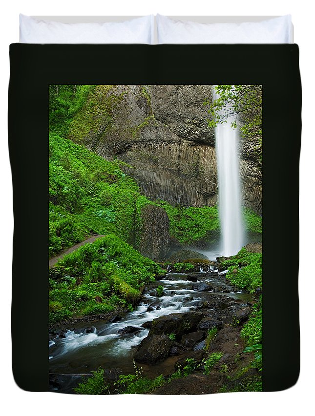Waterfall Duvet Cover featuring the photograph Latourell Falls Oregon by Renee Hong