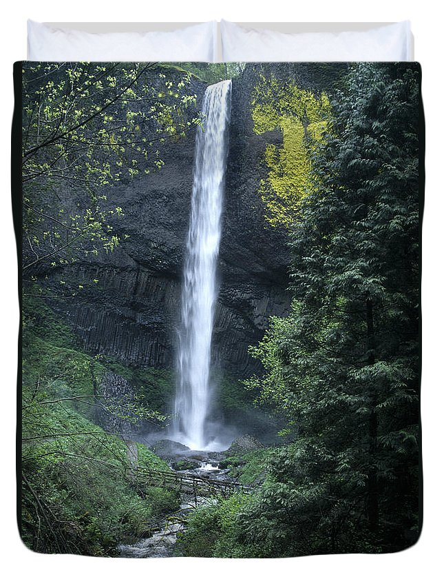 Waterfalls Duvet Cover featuring the photograph Latourelle Falls-columbia River Gorge by Sandra Bronstein