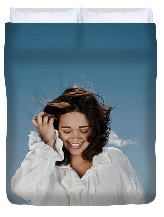 Woman Duvet Cover featuring the photograph Laughing Sky by Scott Sawyer
