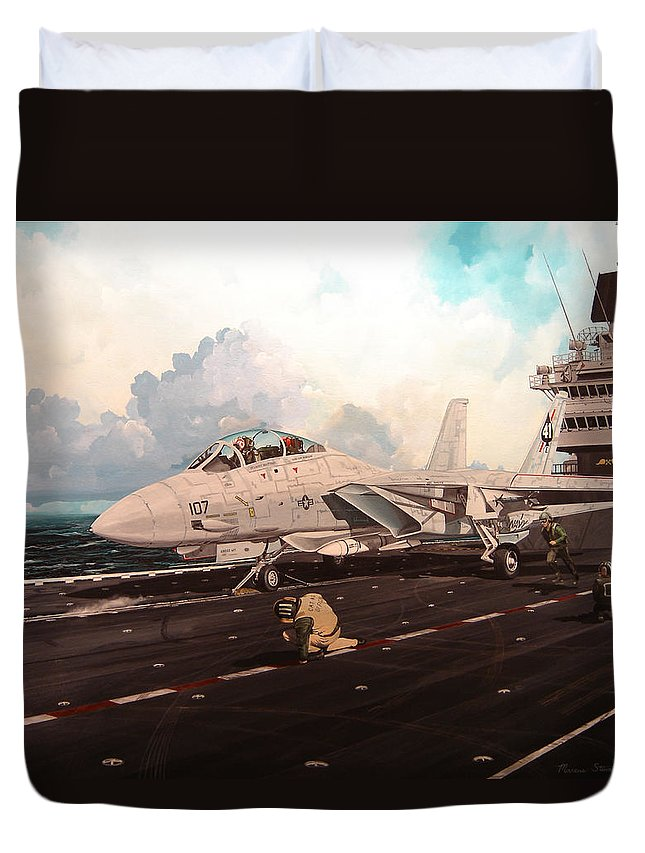 Military Duvet Cover featuring the painting Launch The Alert 5 by Marc Stewart