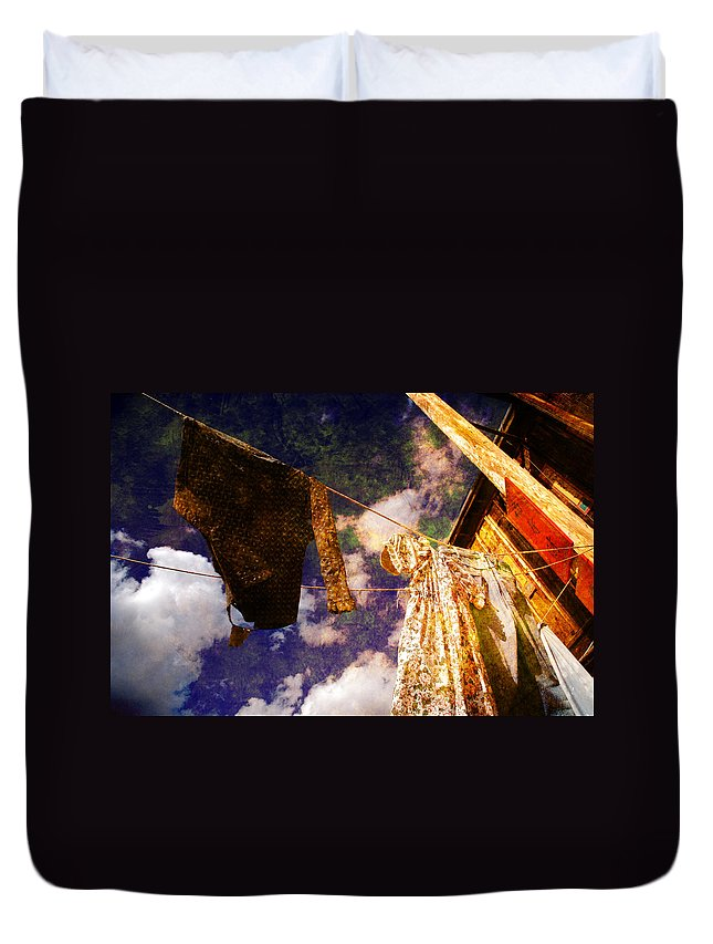 Laundry Duvet Cover featuring the photograph Laundry Day In China Town by Susanne Van Hulst
