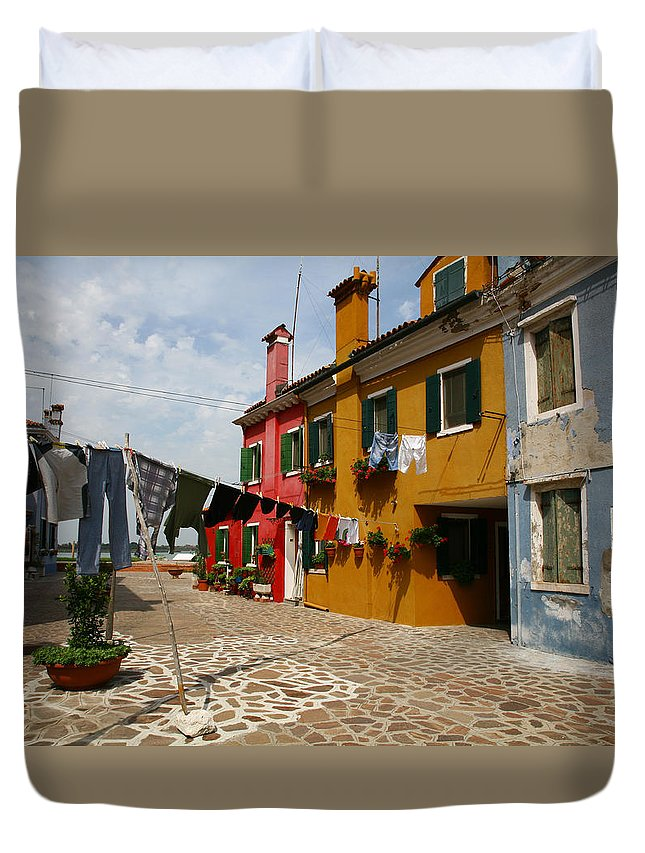 Laundry Duvet Cover featuring the photograph Laundry Held By Wooden Pole by Donna Corless