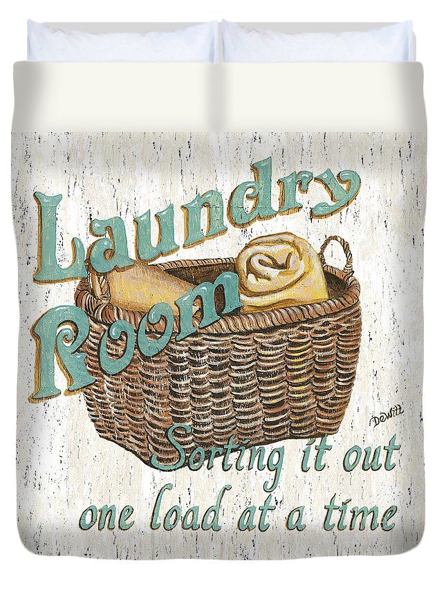 Laundry Duvet Cover featuring the painting Laundry Room Sorting It Out by Debbie DeWitt