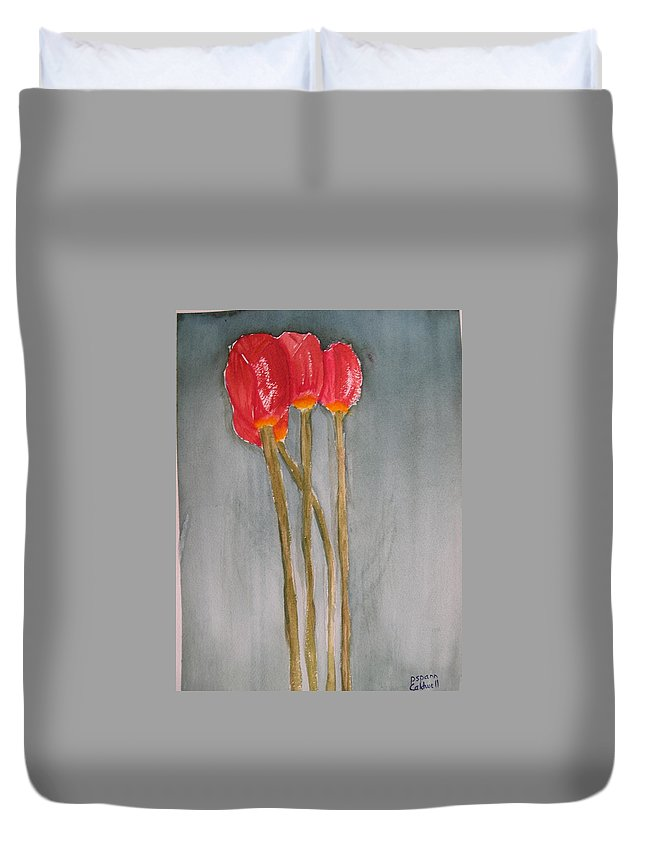 Tulip Flower Bouquet Duvet Cover featuring the painting Laura by Patricia Caldwell