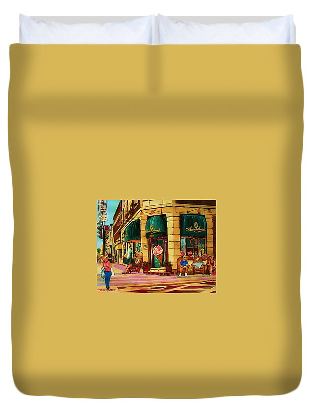 Montreal Streetscenes Duvet Cover featuring the painting Laura Secord Candy And Cone Shop by Carole Spandau