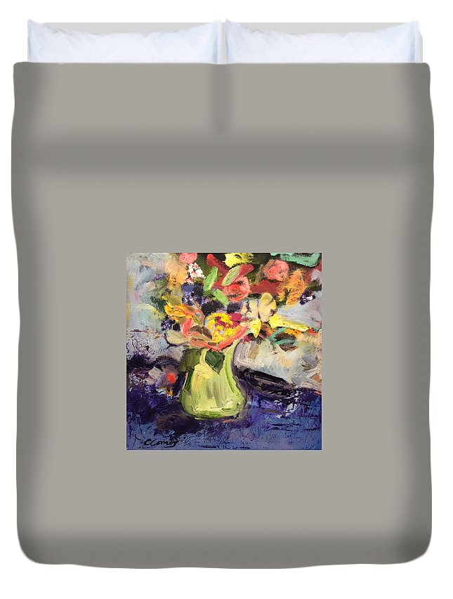 Spring Duvet Cover featuring the painting Laura's Antique Vase by Constance Paul