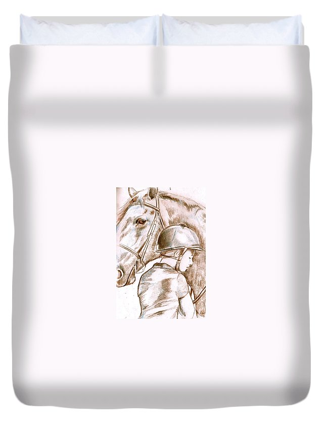 Horse Duvet Cover featuring the drawing Laura's Horse by Janet Lavida