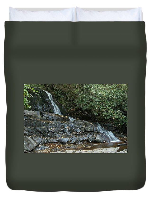 Landscape Duvet Cover featuring the photograph Laurel Falls 2 by Michael Peychich