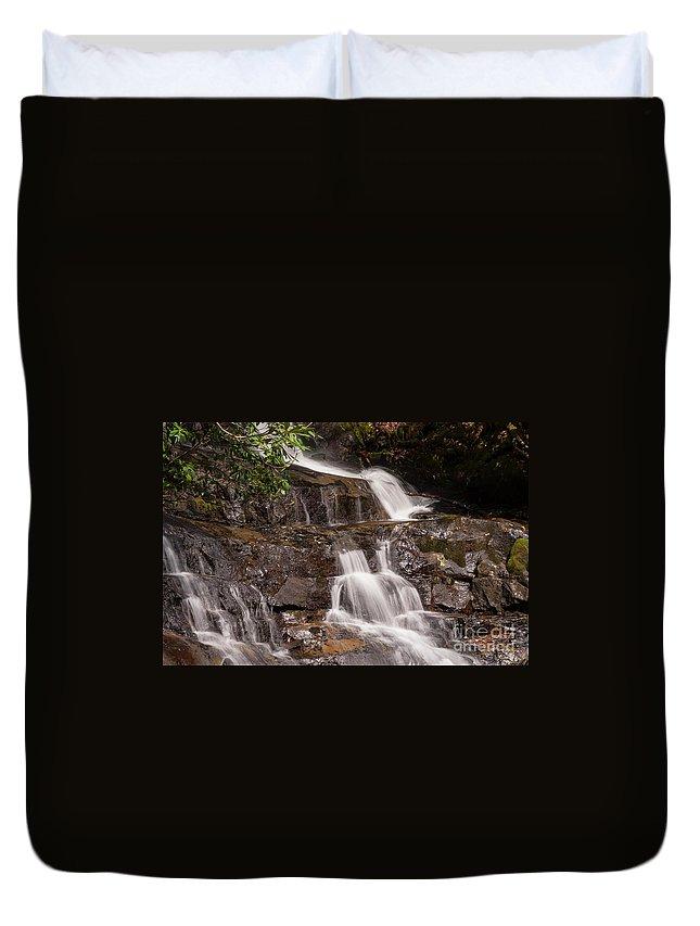 Laurel Fallsl Duvet Cover featuring the photograph Laurel Falls Five by Bob Phillips