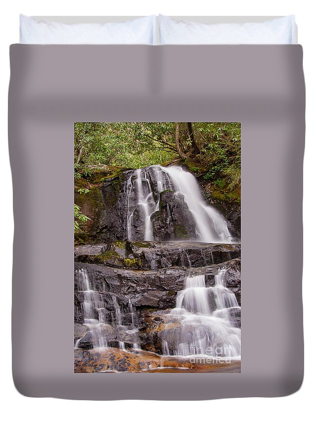 Laurel Fallsl Duvet Cover featuring the photograph Laurel Falls Three by Bob Phillips