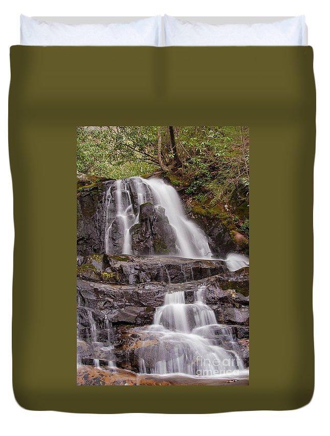 Laurel Fallsl Duvet Cover featuring the photograph Laurel Falls Two by Bob Phillips
