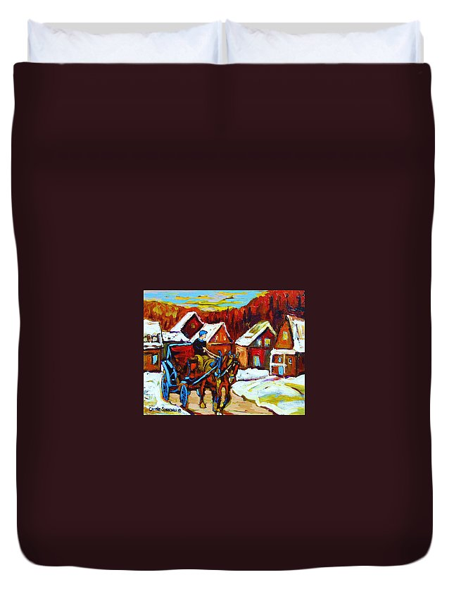 Horse And Carriage Duvet Cover featuring the painting Laurentian Village Ride by Carole Spandau