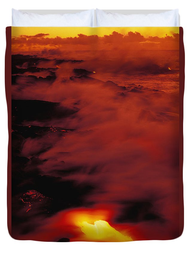Active Duvet Cover featuring the photograph Lava At Dawn by Allan Seiden - Printscapes