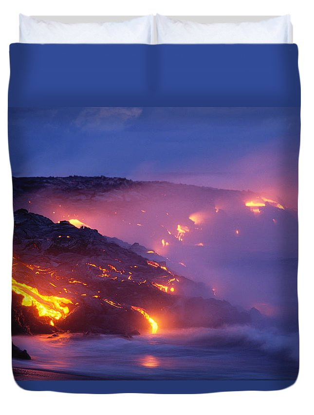 A'a Duvet Cover featuring the photograph Lava At Twilight by Peter French - Printscapes