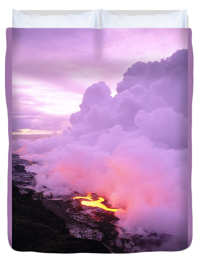 A'a Duvet Cover featuring the photograph Lava Enters Ocean by Peter French - Printscapes