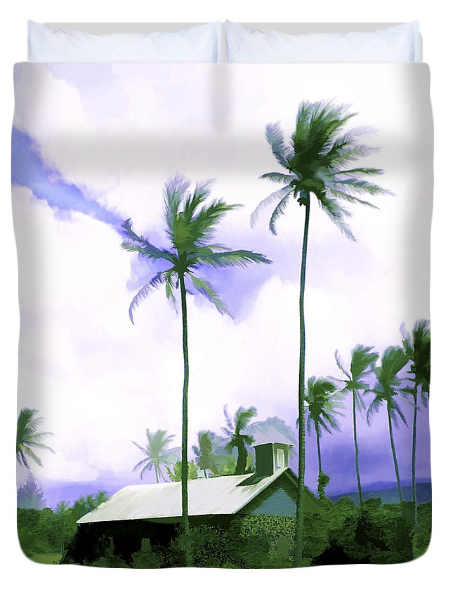 Hawaii Duvet Cover featuring the photograph Lava Rock Church by Kurt Van Wagner