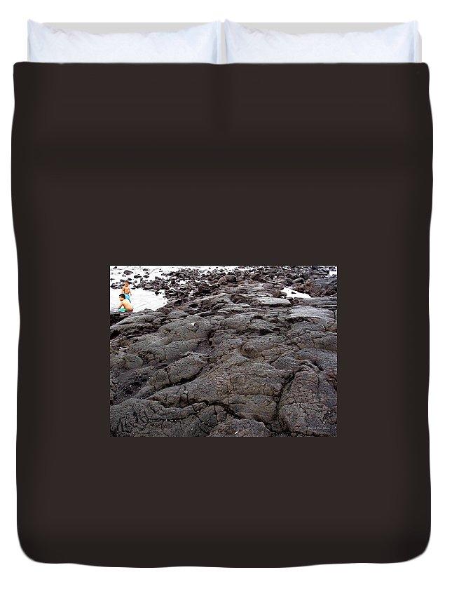 Lava Duvet Cover featuring the photograph Lava Rock Island by Deborah Crew-Johnson