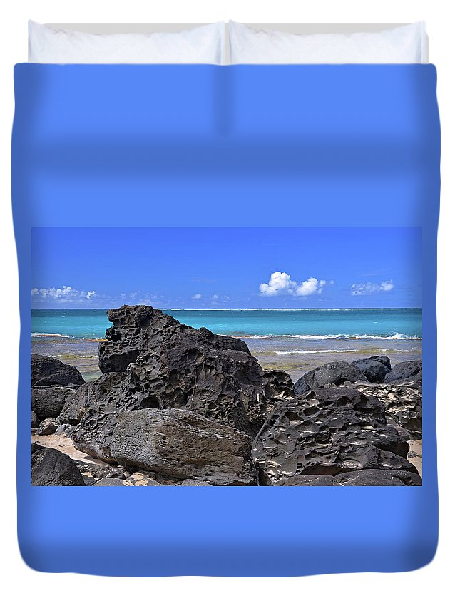Hawaii Duvet Cover featuring the photograph Lava Rocks At Haena Beach by Marie Hicks