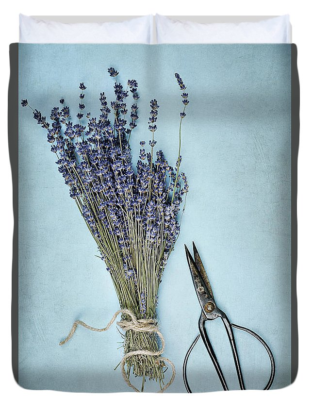 Lavender Duvet Cover featuring the photograph Lavender And Antique Scissors by Stephanie Frey
