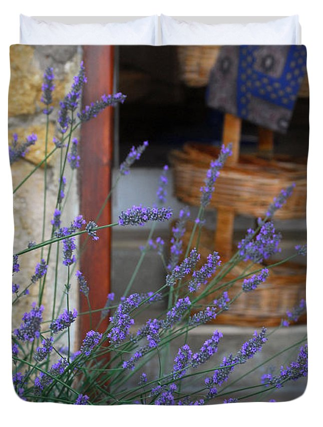 Provence Duvet Cover featuring the photograph Lavender Blooming Near Stairway by Anne Keiser