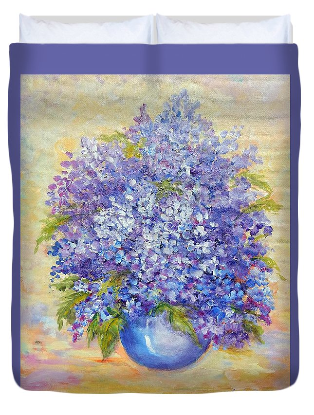 Plants Duvet Cover featuring the painting Lavender by Caroline Patrick