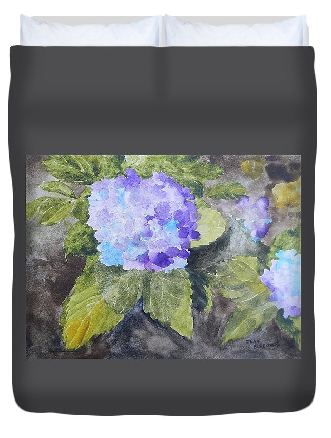Hydrangea Duvet Cover featuring the painting Lavender Dreams by Jean Blackmer