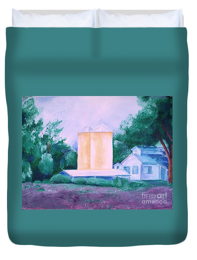 Western Duvet Cover featuring the painting Lavender Farm Albuquerque by Eric Schiabor
