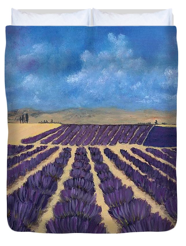 Lavender Duvet Cover featuring the painting Lavender Field by Anastasiya Malakhova