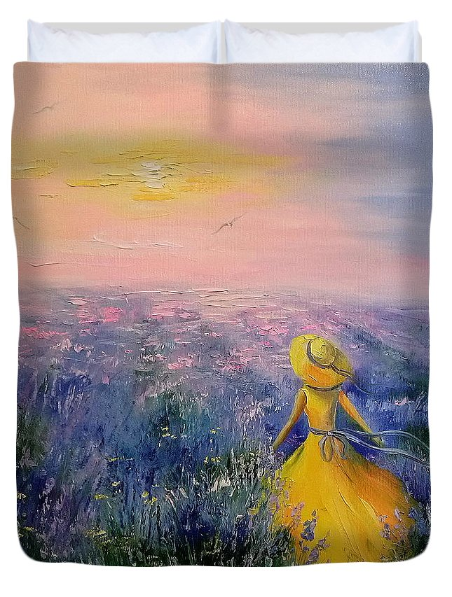 Lavender Field Duvet Cover featuring the painting Lavender Field by Olha Darchuk