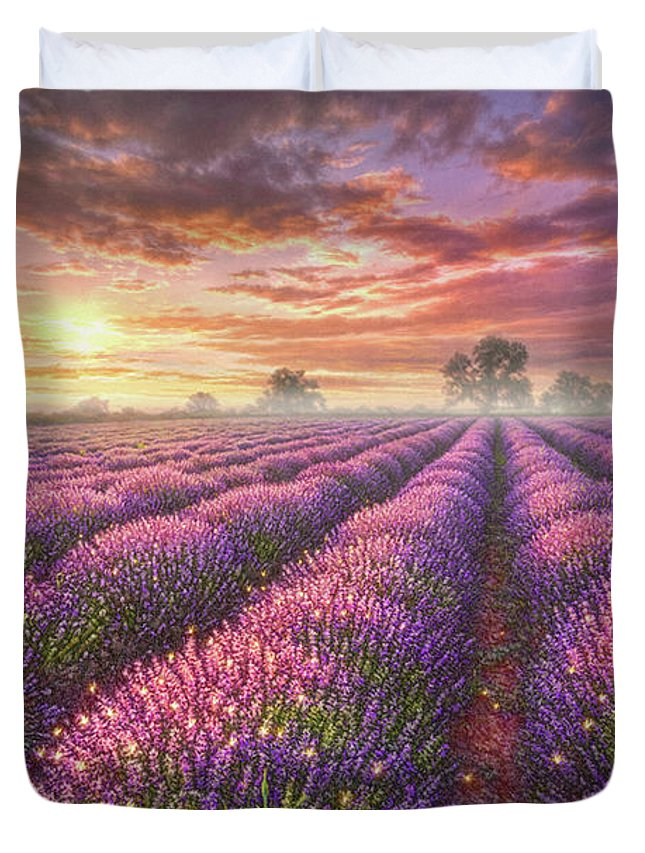Lavender Duvet Cover featuring the painting Lavender Field by Phil Jaeger