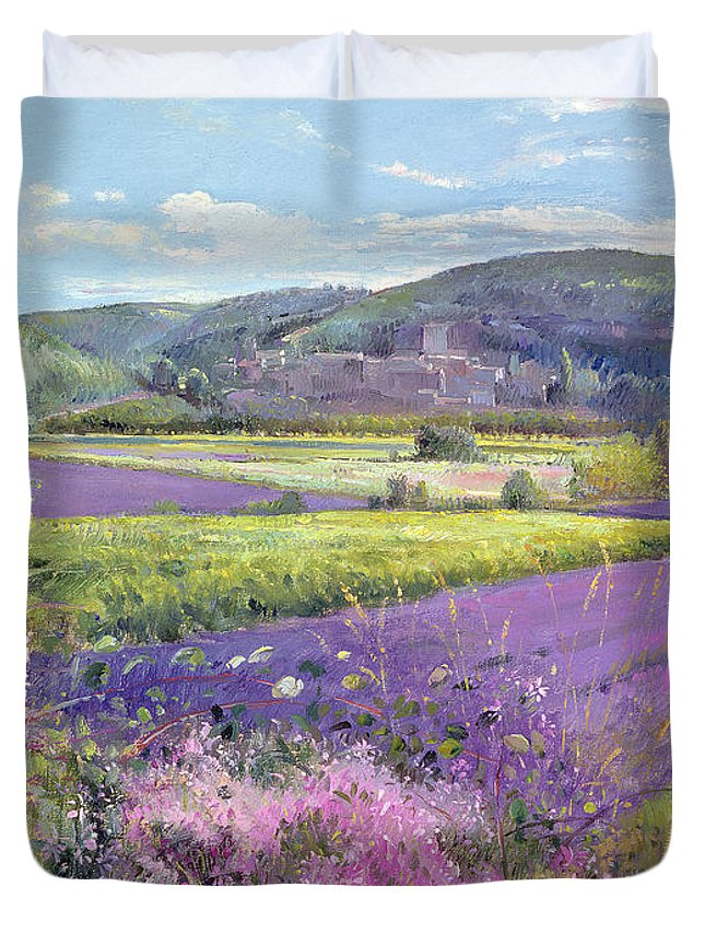 Field; South Of France; French Landscape; Hills; Hill; Landscape; Flower; Flowers; Field; Tree; Trees; Bush; Bushes; France; Provence Duvet Cover featuring the painting Lavender Fields In Old Provence by Timothy Easton