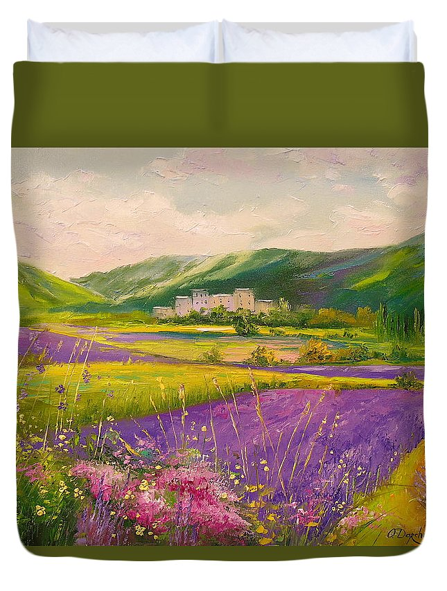 Lavender Fields Landscape Oil Painting On Canvas Duvet Cover featuring the painting Lavender Fields Landscape by Olha Darchuk