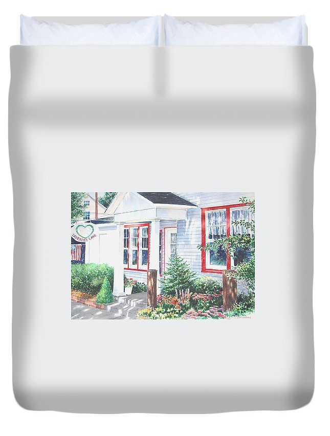 Landscape Duvet Cover featuring the painting Lavender Lane Occoquan Virginia by Tom Harris