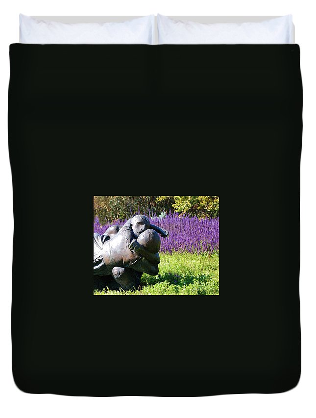 Statue Duvet Cover featuring the photograph Lavender Lovers by Debbi Granruth