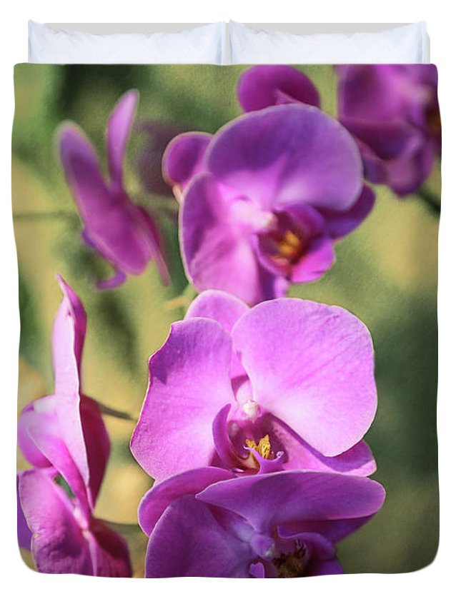 Orchid Duvet Cover featuring the photograph Lavender Orchids by Lorraine Baum