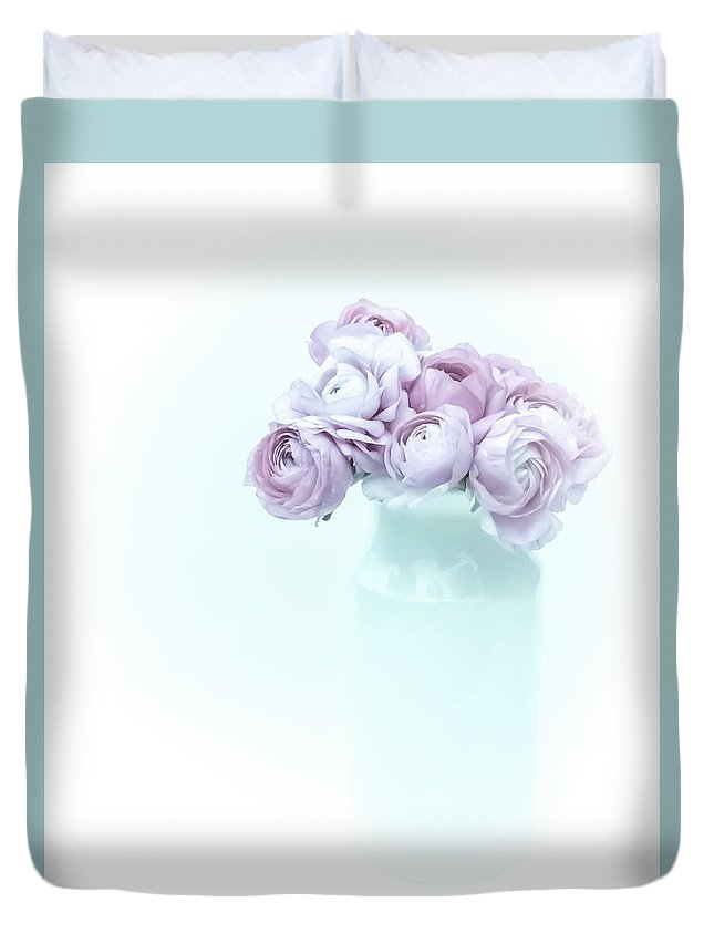 High Contrast Duvet Cover featuring the photograph Lavender Pastel Ranunculus by Susan Westervelt